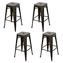 Purenity Bronze 30 inch Metal Tolix Style Industrial Chic Chair Counter Stool, Patio Vintage Bar stool, Set of 4