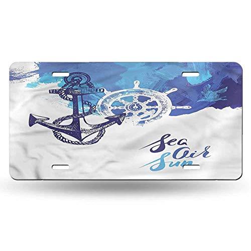 dsdsgog Personalized License Plates Nautical,Nautical Wheel Ocean 12x6 inches,Original Design