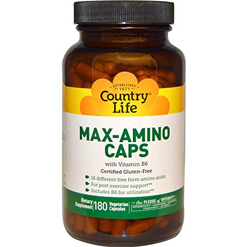 Country Life - Max-Amino with Vitamin B-6 (Blend of 18 Amino Acids) - 180 Vegetarian Capsules
