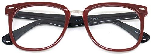 Nerd Geek Retro Square Eye Glasses Clear Lens Oversized Horn Rim Classic Spectacles (burgundy) (Eyeglasses Burgundy Frame)