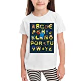 Girls Toddler T-Shirt 4T Girls White Shirt Printed with The Alphabet Simpsons Pattern