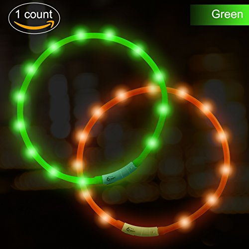 Akatie LED Dog Collar USB Rechargeable Glowing Pet Dog Collar Light for Night Safety Water Resistant Flashing Light Up Collars for Small Medium Large Dogs (Light Pet Safety)