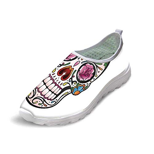 Sugar Skull Decor Comfortable Running ShoesSpooky Sugar Skull with Pink Roses Twigs Blooms Teeth Smile Halloween Decorative for Men Boys,US 10 -