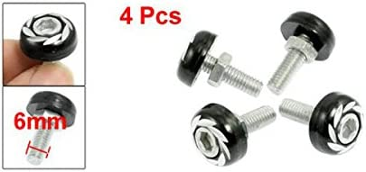 ZYHW 4 Pcs Car Ornament Red Silver Tone License Plate Bolts Screws