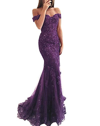 YSMei Lace Mermaid Tulle Prom Dresses Off Shoulder Long Beaded Formal Party Gown Grape 08 ()