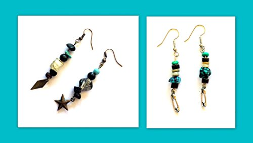 2 Pairs of Earrings - Black, Silver, Turquoise - Asymmetrical, Safety Pin