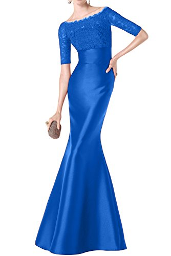 Toskana novia Vestidos de noche de glamour Mermaid largo satén con punta para ropa Fiesta novia azul marino