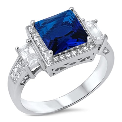 Baguette Square Ring - Halo Wedding Engagement Ring Princess Cut Square Simulated Sapphire Baguette Round CZ 925 Sterling Silver