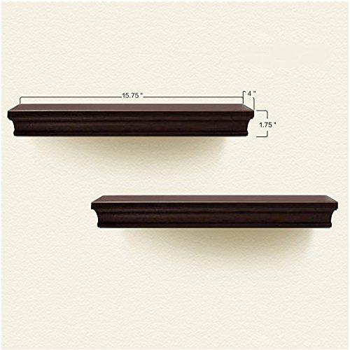 AHDECOR Floating Shelves Espresso, Ledge Wall Shelf, Super Sturdy, Easy to Install (4 Inches Deep, Set of 2 pcs)