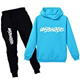 amropi Boy's Tracksuit Pullover Hoodie Jogging Pants Set 2 Pieces Sweatsuit (Sky Blue,11-12Years)