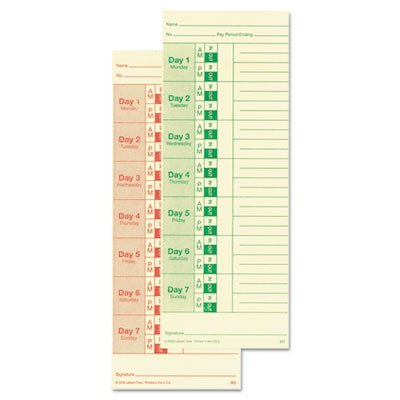 LATHEM TIME CORPORATION M2100 Universal Time Card, Side Print, 3 1/2 x 9, Bi-Weekly/Weekly, 2-Sided ()