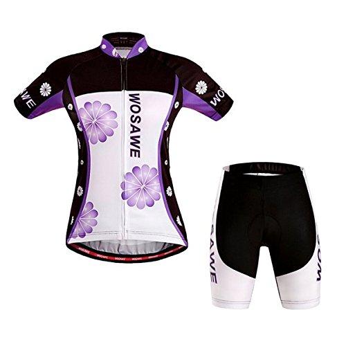 Coussin Manches Costume Avec De Bicyclette Cyclisme Femme Gel Philmat Wosawe Sportwear Maillot Courtes EwSZvHq