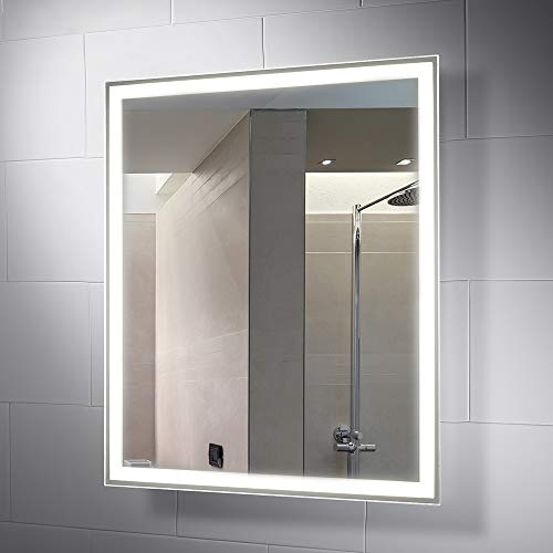 Pebble Grey 28 x 32 Inch Bathroom Mirror with LED Illuminated Lights - Demister Mirrors Led Illuminated Sensor Bathroom