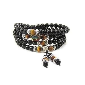 Om Shanti Crafts Mala Beads Stretch Bracelet Black Obsidian & Tiger Stone, Buddhist Prayer Beads, Yoga Bracelets, Wear for Daily Meditation & Spiritual Growth, 6mm Meditation Beads, Unisex
