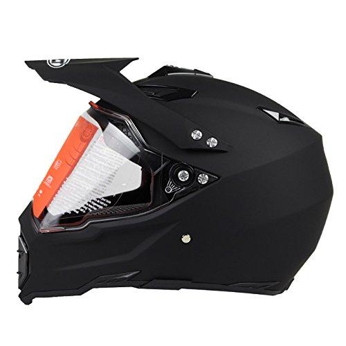 Woljay Dual Sport Off Road Motorcycle helmet Dirt Bike ATV D.O.T certified Matt Black (L)