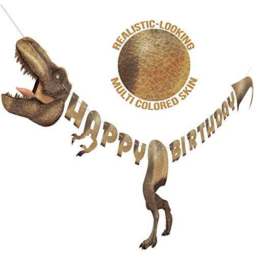 Dinosaur Happy Birthday Banner - Dinosaur Party Supplies Decorations - Pre-Assembled Large Size Realistic Multi Colored Skin - Dino Theme T-Rex Jurassic Sign Garland -