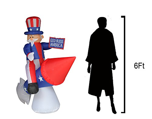 JF Deco 6 Ft Independence Day/ Flag Day Patriotic Inflatable Uncle Sam on Rocket Decorations Home Yard Outdoor Indoor Decoration by JF Deco (Image #2)