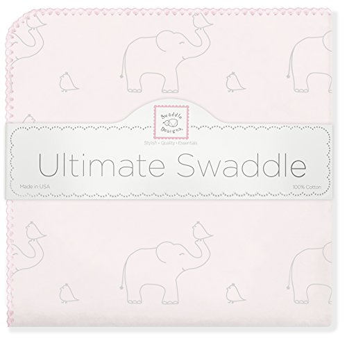 SwaddleDesigns Ultimate Swaddle, X-Large Receiving Blanket, Made in USA Premium Cotton Flannel, Sterling Deco Elephants on Sunwashed Pink (Mom's Choice Award Winner) (Cotton Sunwashed Blanket)
