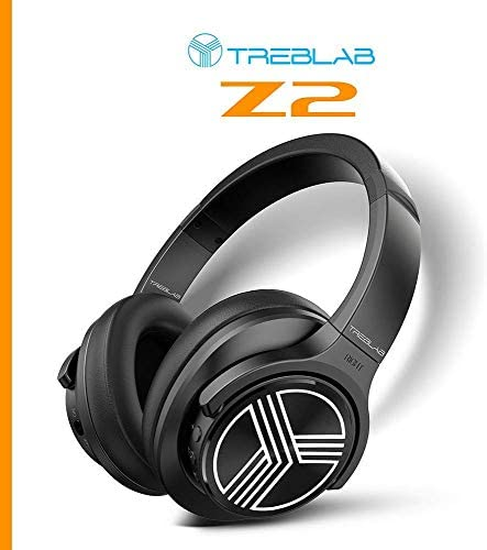 TREBLAB Z2 | Over Ear Workout Headphones with Microphone | Bluetooth 5.0, Active Noise Cancelling (ANC) | Up to 35H Battery Life | Wireless Headphones for Sport, Workout, Running, Gym (Black) 416pZy GepL
