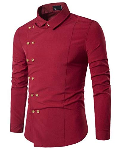 Zimaes-Men Solid Plus Size Slim Fit Double-Breasted Western Shirt Red Small