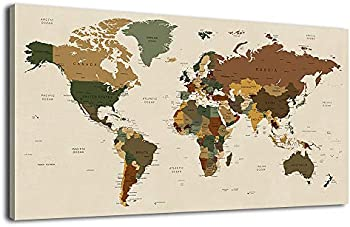 arteWOODS Vintage Living Room Decoration Large Map of The World Wall Art