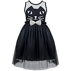 TiaoBug Girls Kids Princess Wedding Pageant Mesh Cat Bowknot Holiday Party Dress Black 5-6