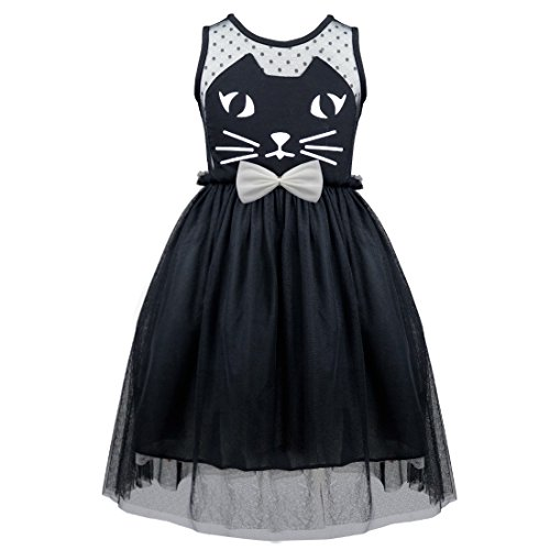 TiaoBug Girls Kids Princess Wedding Pageant Mesh Cat Bowknot Holiday Party Dress Black 5-6 (Black Cat Dress)