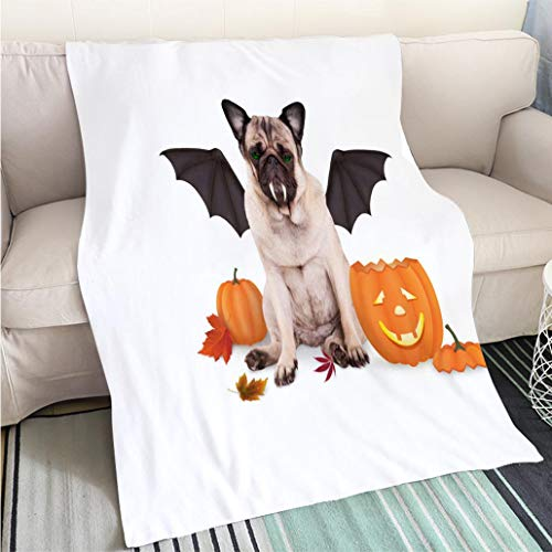 Breathable Flannel Warm Weighted Blanket Pug Dog Dressed up as bat for Halloween with Funny Pumpkin Lantern Perfect for Couch Sofa or Bed Cool Quilt ()