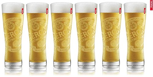 6 Peroni Etched Signature Italian Beer Glasses 0.3L New by Peroni