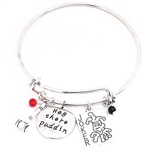 """Suicide Squad Harley Quinn Message Expandable Silver Bracelet Bangles """"Puddin"""" Pendant with Joker Card Hammer Crystals Charms Cosplay Jewelry for Birthday Halloween,Christmas -"""