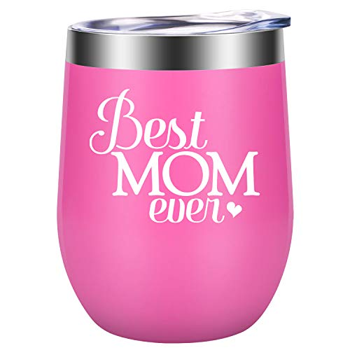 Best Mom Ever - Funny Mom Gifts for Mother's Day, Mom Birthday from Daughters, Sons - Unique Gifts for Moms, Mama, Mommy, Wife, Her, Women - LEADO Stainless Steel Insulated Novelty Wine Tumbler Cup