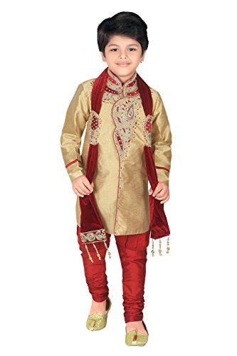 Work Kurta - ahhaaaa Kids Ethnic Wear Handwork Embroidery Work Sherwani and Breeches Set for Boys Gold