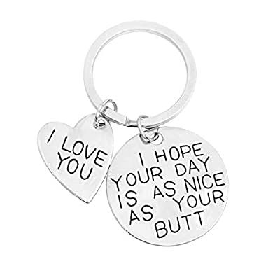 Acamifashion I Love You Letter Print Heart Pendant Key Chain Ring Bag Purse Decor Ornament - Silver