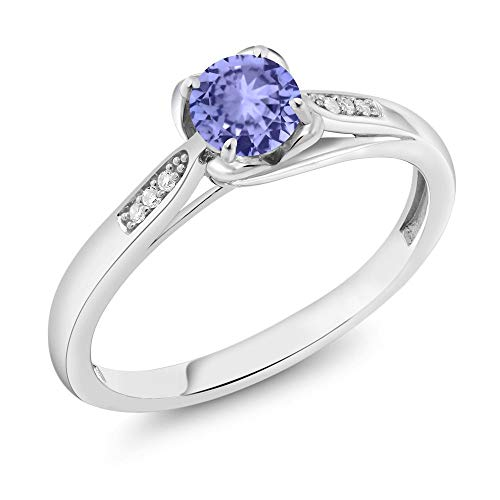 Gem Stone King 10K White Gold 0.50 Ct Round Blue Tanzanite and Diamond Engagement Ring (Size - Diamond Ring Round Tanzanite