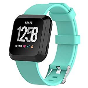 TERSELY Band Strap for Fitbit Versa 1/ Versa Lite, Classic Soft TPU Silicone Sports Adjustable Bands Fitness Sport Bracelet Strap for Fitbit Versa/Lite (Aqua, Small)