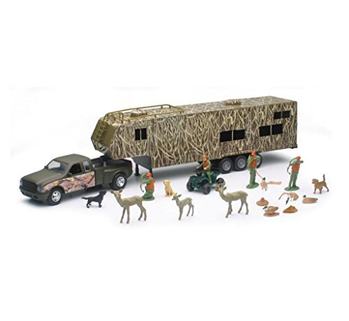 NewRay Wildlife Hunter Fifth Wheel W/ Camo Camper & Deer Set Scale 1:32 ()