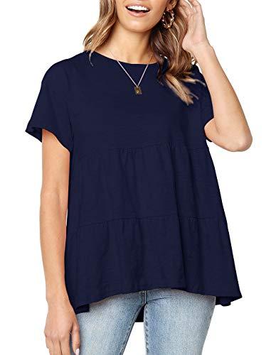 (Fmolucity Women's Casual Short Sleeve Loose Blouse High Low Hem Ruffle Peplum Tops T Shirts (Navy Blue, S))