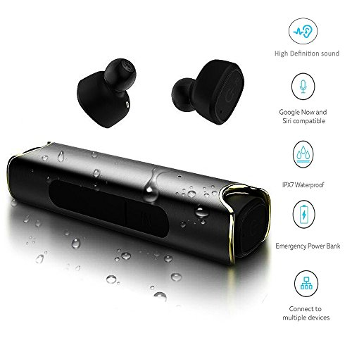 True Wireless Earbuds Bluetooth Sports Earphones with charging power bank Stereo Headphones Car Headset with Mic Waterproof Stereo Noise Cancelling for iPhone and Android Hands-free (Black)