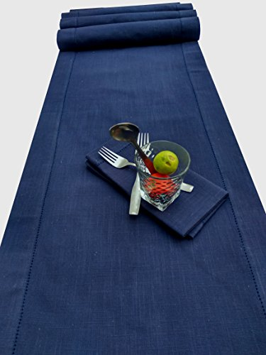 Slub Cotton Hemstitched Table Runner - Navy-16x90
