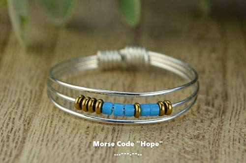 Rose 9,10,11,12,13,14 or Yellow Gold Filled Wire- Any Size-4 8 6 Morse CodeHope Ring- Your Choice of Color Beads and Silver 5 7