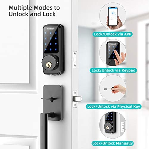 [2020 Newest] Smart Door Lock with Keypad, Keyless Entry Home with Your Smartphone, Bluetooth Digital Smart Deadbolt Door Lock Work with APP Control, Code and eKey, Auto Lock for Home Hotel Apartment 416pczzxYTL