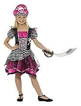 Smiffy'S 21981S Disfraz Perfecto De Pirata Para Chica Con Vestido Y Sombrero, Negro / Rosa, S - Edad 4-6 Años