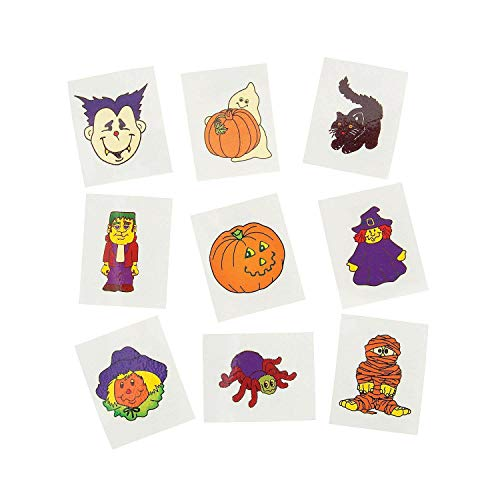 Fun Express Glow-in-The-Dark Temporary Halloween Tattoos | 2-Pack (144 Count) | Great for Home and Party -
