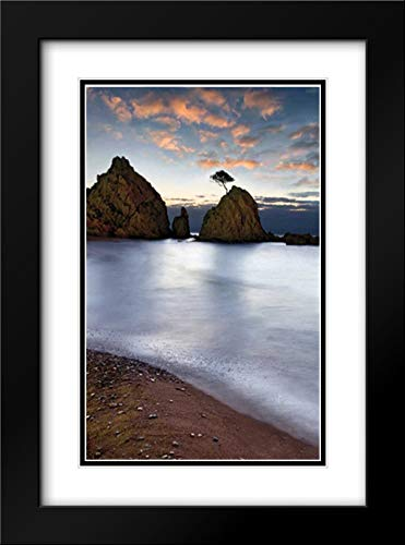 Tossa de Mar 28x40 Black Modern Frame and Double Matted Art Print by Ortega, Xavier