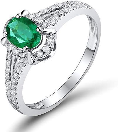 Lanmi ビンテージ 天然エメラルド 指輪 エンゲージメントリング K18 ホワイトゴールド レディース