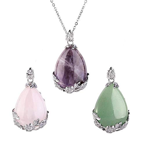 OCARLY Natural Gemstone Teardrop Pendant Carved Flower Necklace Healing Crystal Chakra Jewelry for Women ()