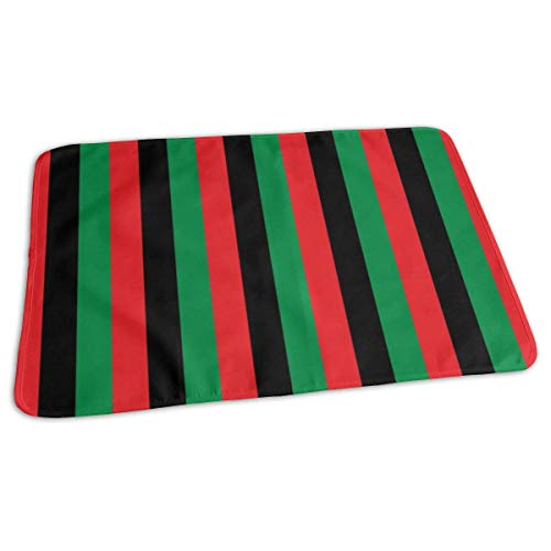 Red, Black, Green Pan African Flag Vertical (Half Inch), Baby Portable Reusable Changing Pad Mat 19.7 x 27.5
