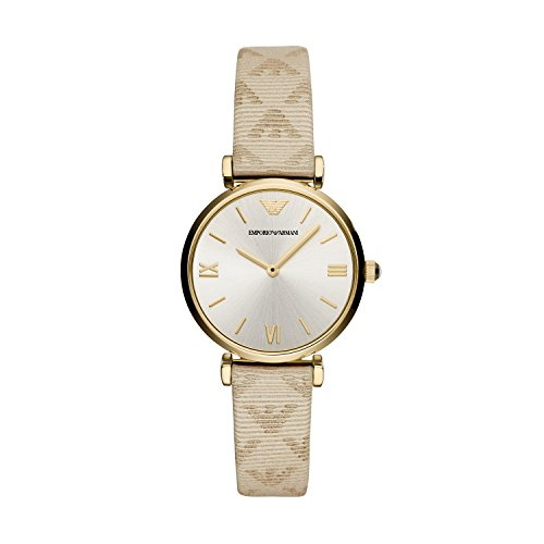 Emporio Armani Women's Stainless Steel Quartz Watch with Leather Calfskin Strap, Beige, 14 (Model: AR11127)