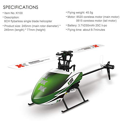 - Remote Control RC Helicopter Flying Toys,Racing Propel Airplane Helicopters XK K100 6CH 3D 6G System RTF RC Helicopter Built-in Gyro Super Stable Flight Quadcopter Toys for Adults Kids (Green)