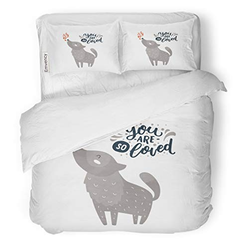 Semtomn Decor Duvet Cover Set King Size Baby Animal and Hand Letters Cute Wolf You are 3 Piece Brushed Microfiber Fabric Print Bedding Set Cover -